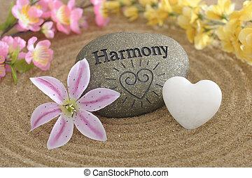 pietra, zen, sabbia, armonia