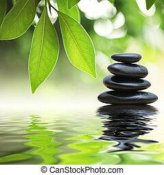 pietre, acqua, piramide, zen, superficie