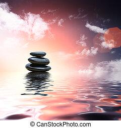 pietre, acqua, riflettere, zen, fondo