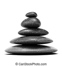 pietre, ciottoli, piramide, sopra, cinque, fondo, nero, bianco