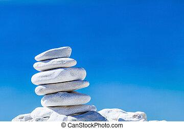 pietre, ciottoli, sopra, blu, equilibrio, catasta mare, croatia.