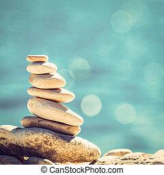 pietre, ciottoli, vendemmia, equilibrio, fondo, pila