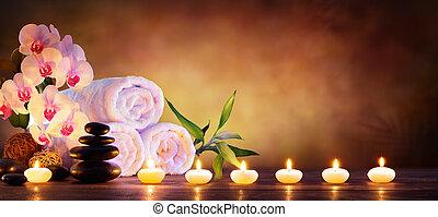 pietre, concetto, naturale, asciugamani, candele, -, fondo, terme, massaggio