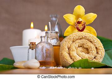pietre, fiore, asciugamano, zen, aroma, olii, orchidea