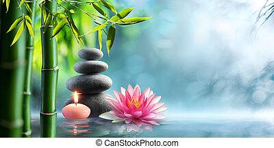 pietre, naturale, -, terapia acqua, terme, waterlily, alternativa, massaggio