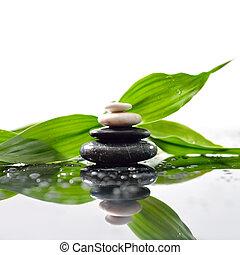 pietre, piramide, foglie, zen, superficie, verde, sopra, waterdrops