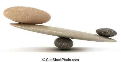 pietre, stabilità, scale, grande, piccolo, ciottolo