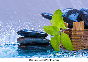 pietre, superfici, vaso, bagnato, terme, bambù