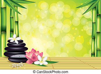 pietre, terme, bambù, fiori, fondo