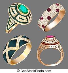 pietre, vendemmia, anello, set, prezioso