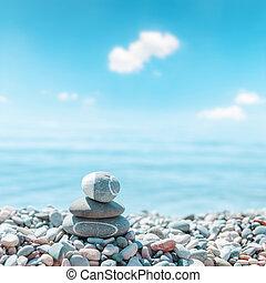 pietre, zen-come, spiaggia., fuoco molle