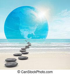 pietre, zen-come, strada, terra