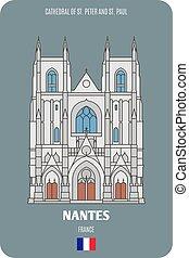 pietro, nantes, francia, st., cattedrale, paul