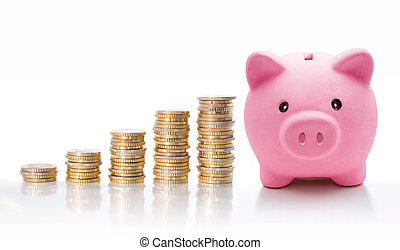 piggy, moneta, euro, accatastare, banca