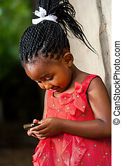 pigtailed, telefono., africano, ragazza, gioco, far male