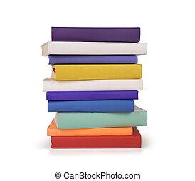 pila, colore isolato, libri