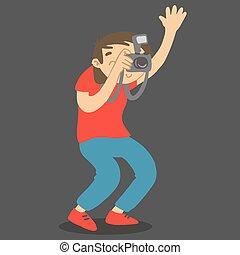 pila, vettore, fotografo, photo., presa a terra, carattere, presa, cartone animato, mano, su., macchina fotografica
