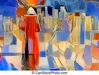 pilgrimage., viaggiatore, robed