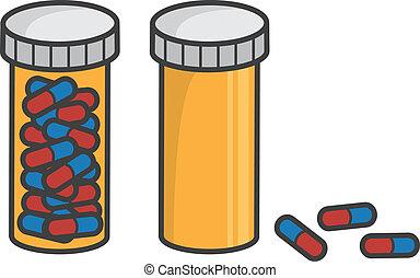 pillola, vuoto, pieno, bottiglia