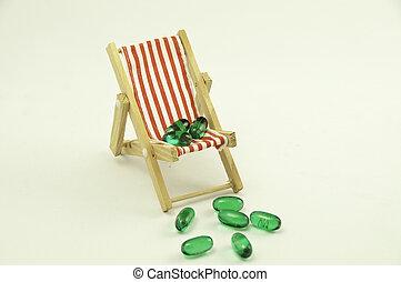 pillole, sedia, verde rosso