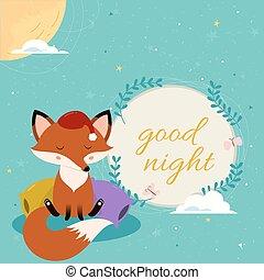 pillows., carino, buono, sonnolento, volpe, notte, cartone animato, scheda