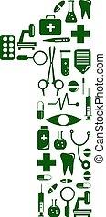 pills., fatto, alfabeto, medico, numero 1, font.