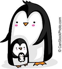 pinguino, bambino, genitore