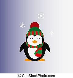 pinguino, cap., lavorato maglia, vector., icon., flat.