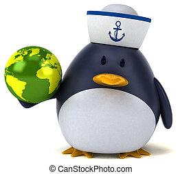 pinguino, divertimento, 3d, illustrazione, -