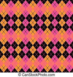 :pink, arancia, argyle, black., disegno