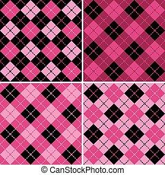 pink-black, modelli, plaid-argyle