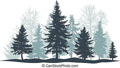 pino, foresta, vettore, individuale, sempreverde, isolated., objects., albero, natale, separato, inverno, illustrazione, albero., parco