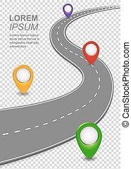 pins., automobile, sagoma, modo, strada, curvy, navigazione, roadmap, superstrada, autostrada, mappa, infographic.