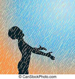 pioggia, felice