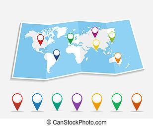 piolini, posizione, file., geo, eps10, vettore, mappa mondo