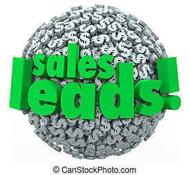 piombi, prospettive, convertire, affari, dollaro, vendite, o, simboli, sfera, clienti, parole, segni, nuovo, 3d, tuo, illustrare