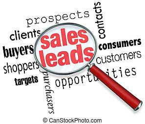 piombi, prospettive, vendita, clienti, ricerca, vendite, opportunità, specchio, parole, sotto, risultato, nuovo, ingrandendo, illustrare