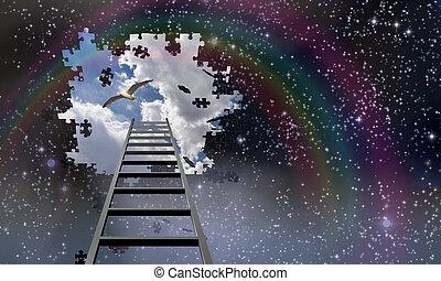 piombi, scala, cielo, giorno
