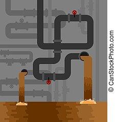 pipe., sotterraneo, vettore, sistema, acqua, misure sanitarie, fornitura, illustrazione, sewage., fognatura