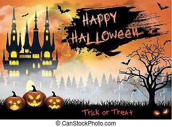 pipistrelli, tomba, halloween, illustrazione, castello