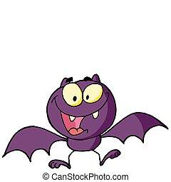 pipistrello, carattere, cartone animato, felice