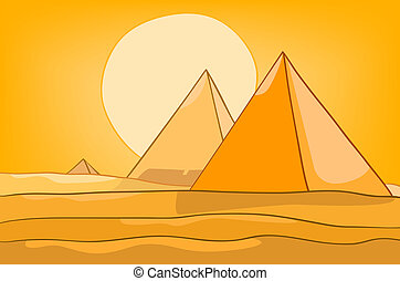 piramide, cartone animato, paesaggio, natura