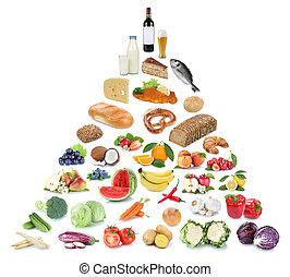 piramide, cibo mangia, verdura, isolato, sano, frutta, frutte, collage