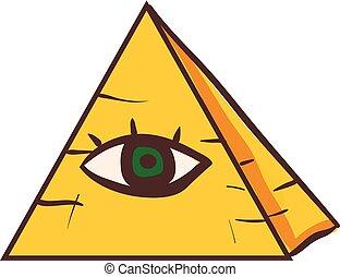 piramide, occhio, umano, clipart, colorare, bianco, isolato, illustrazione, fronte, vettore, sfondo verde, set, o, osservato