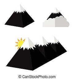 piramide, set, cartone animato, illustrazione