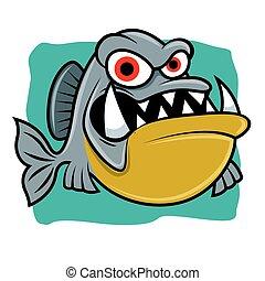 piranha, carattere, fish, arrabbiato, mare, fondo, affilato, mascotte, cartone animato, denti, -, blu, grande, vettore