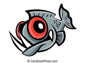 piranha, carattere, fish, carattere, carino, occhi, affilato, mascotte, cartone animato, denti, grande, vettore