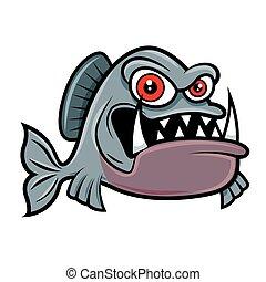 piranha, fish, arrabbiato, carattere, occhi, mascotte, cartone animato, -, rosso, grande, vettore