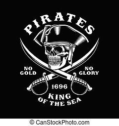 pirata, attraversato, illustrazione, spade, cranio, vettore