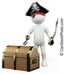 pirata, persone., 3d, tesoro, bianco